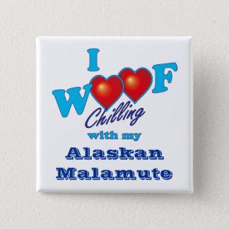 I Woof Alaskan Malamute 15 Cm Square Badge