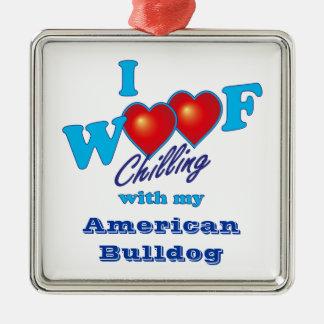 I Woof American Bulldog Metal Ornament