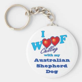 I Woof  Australian Shepherd Key Ring