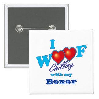 I Woof Boxer 15 Cm Square Badge