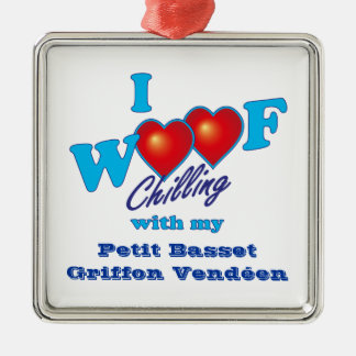 I Woof Petit Basset Griffon Vendeen Silver-Colored Square Decoration