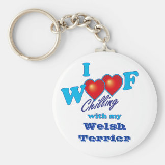 I Woof Welsh Terrier Basic Round Button Key Ring