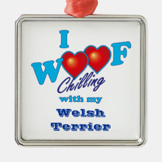 I Woof Welsh Terrier Silver-Colored Square Decoration