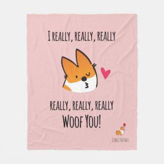 I Woof You Corgi Fleece Blanket