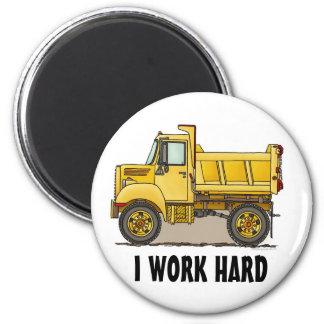 I Work Hard Little Dump Truck Round Magnet