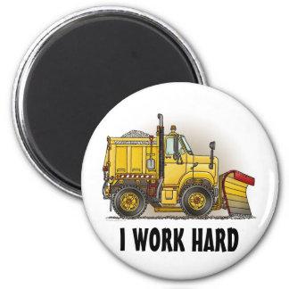 I Work Hard Snow Plow Truck Round Magnet