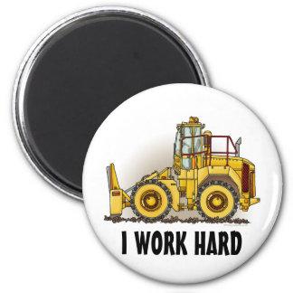 I Work Hard Soil Compactor Round Magnet