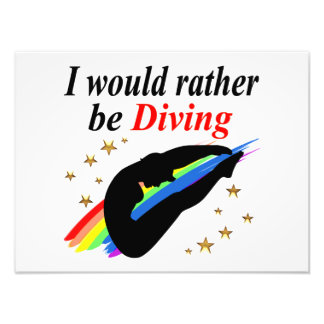 I WOULD RATHER BE DIVING DIVER GIRL DESIGN PHOTO PRINT