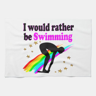 I WOULD RATHER BE SWIMMING PINK RAINBOW DESIGN HAND TOWEL