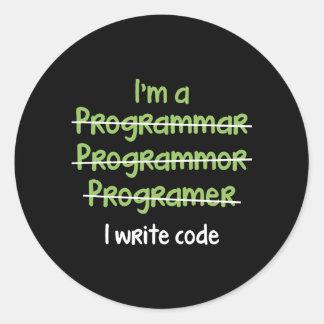 I Write Code Classic Round Sticker