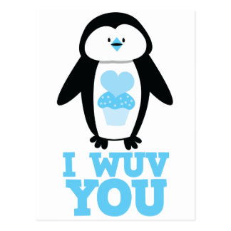 I wuv you penguin with cupcake hearts postcards