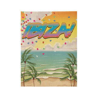 Ibiza beach Party travel poster Wood Poster