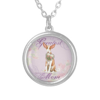 Ibizan Hound Heart Mom Silver Plated Necklace