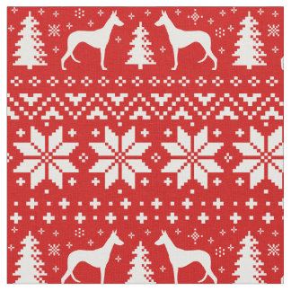 Ibizan Hound Silhouettes Christmas Pattern Red Fabric