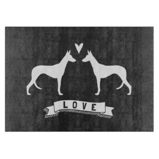 Ibizan Hound Silhouettes Love Cutting Board