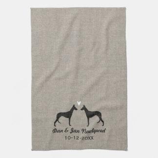 Ibizan Hound Silhouettes with Heart Tea Towel