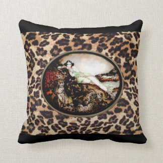 Icart Leopard Lady on Leopard Print Pillow