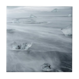 Ice and water on a beach, iceland ceramic tile