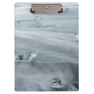 Ice and water on a beach, iceland clipboards