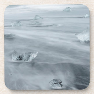 Ice and water on a beach, iceland coaster