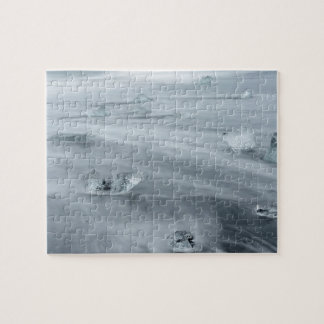 Ice and water on a beach, iceland jigsaw puzzle