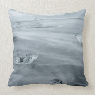 Ice and water on a beach, iceland throw pillow
