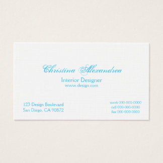 Ice Blue and Linen Damask Business Cards