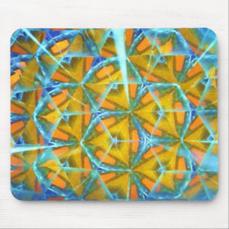 ice blue and yellow abstract mousepad