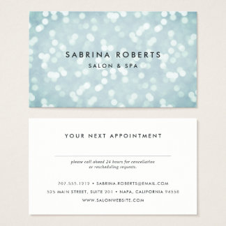 Ice Blue Bokeh Appointment Card