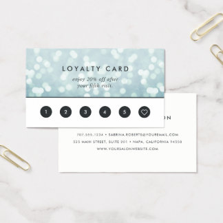 Ice Blue Bokeh | Loyalty Business Card