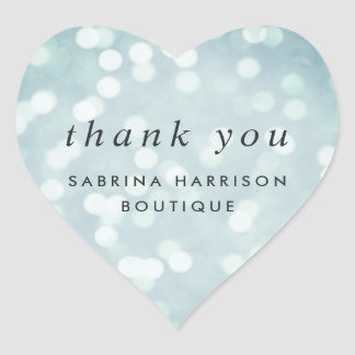 Ice Blue Bokeh | Personalized Business Thank You Heart Sticker