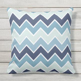 Ice Blue Chevron Print Outdoor Cushion