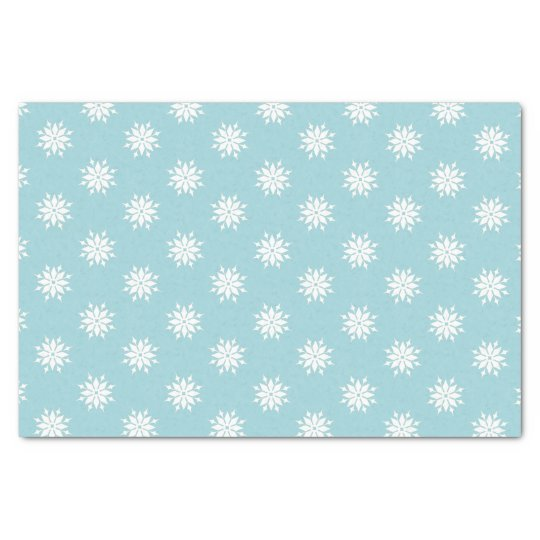 Ice blue Christmas white snowflakes Tissue Paper