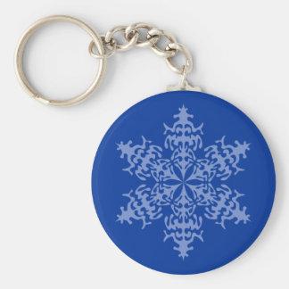 Ice Blue Christmas Winter Snowflake Basic Round Button Key Ring