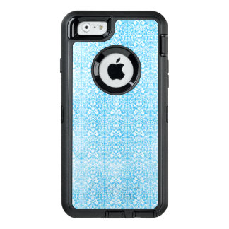 Ice Blue Damask Weathered Pattern OtterBox Defender iPhone Case