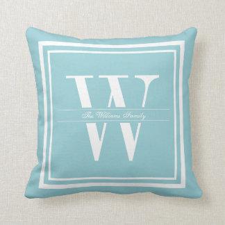 Ice Blue Double Border Monogram Cushions