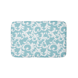 Ice Blue Elegant Damask Bath Mats