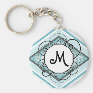 Ice Blue Modern-Retro Stripe Diamond with Monogram Basic Round Button Key Ring
