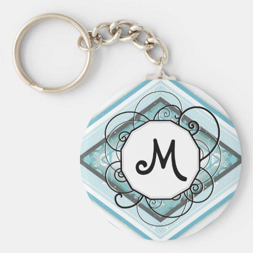 Ice Blue Modern-Retro Stripe Diamond with Monogram Key Chain