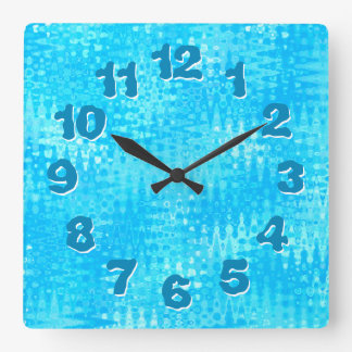 Ice Blue Organic Pattern Wobbly Numbers Wall Clock