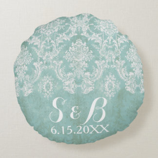 Ice Blue Rustic Damask Wedding Save the Date Round Cushion