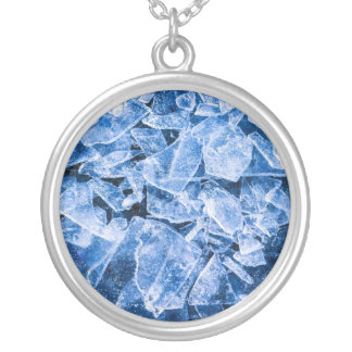 Ice blue silver plated necklace