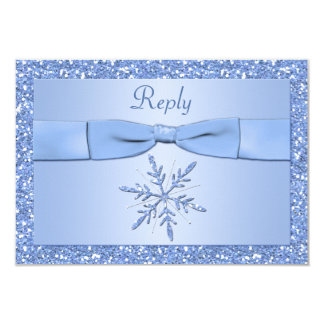 Ice Blue Snowflake Reply Card