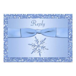 Ice Blue Snowflake Reply Card Invite