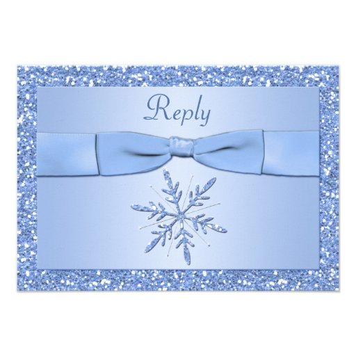 Ice Blue Snowflake Reply Card Invite