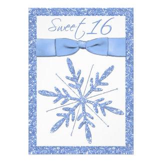 Ice Blue Snowflake Sweet 16 Invitation