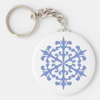 Ice Blue Snowflake Winter Snow Basic Round Button Key Ring