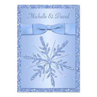 Ice Blue Snowflakes Wedding Invitation