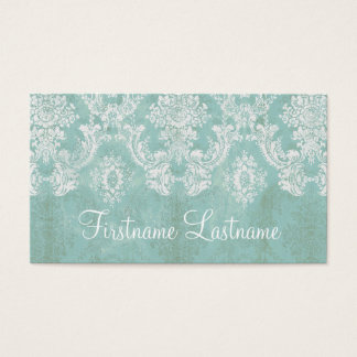 Ice Blue Vintage Damask Pattern Extra Line of Text