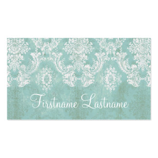 Ice Blue Vintage Damask Pattern Extra Line of Text Pack Of Standard Business Cards